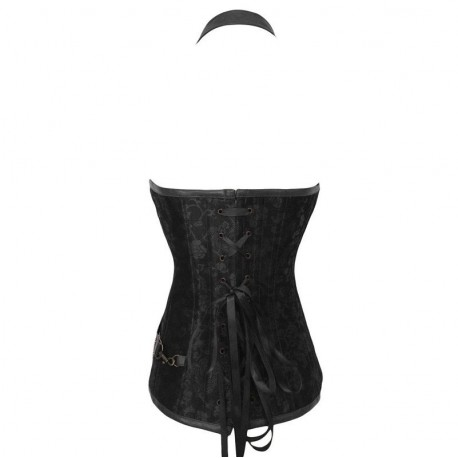 QUEEN CORSETS NEGRO LEATHER CON CREMALLERA SIZE S